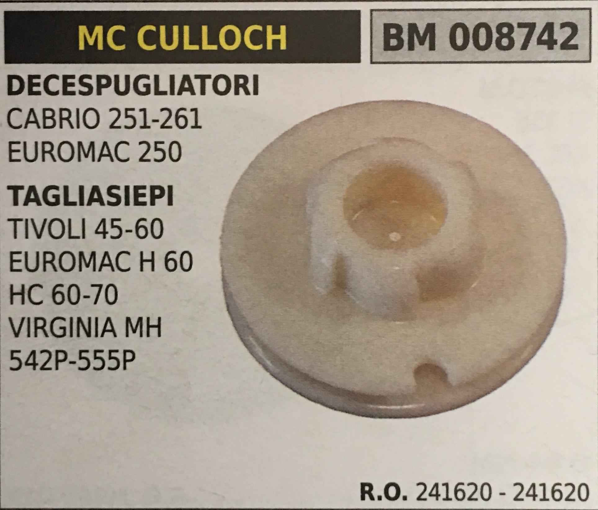 PULEGGIA AVVIAMENTO BRUMAR MC CULLOCH DECESPUGLIATORI CABRIO 251-261 EUROMAC 250 TAGLIASIEPI TIVOLI 45-60 EUROMAC H 60 HC 60-70 VIRGINIA MH 542P-555P