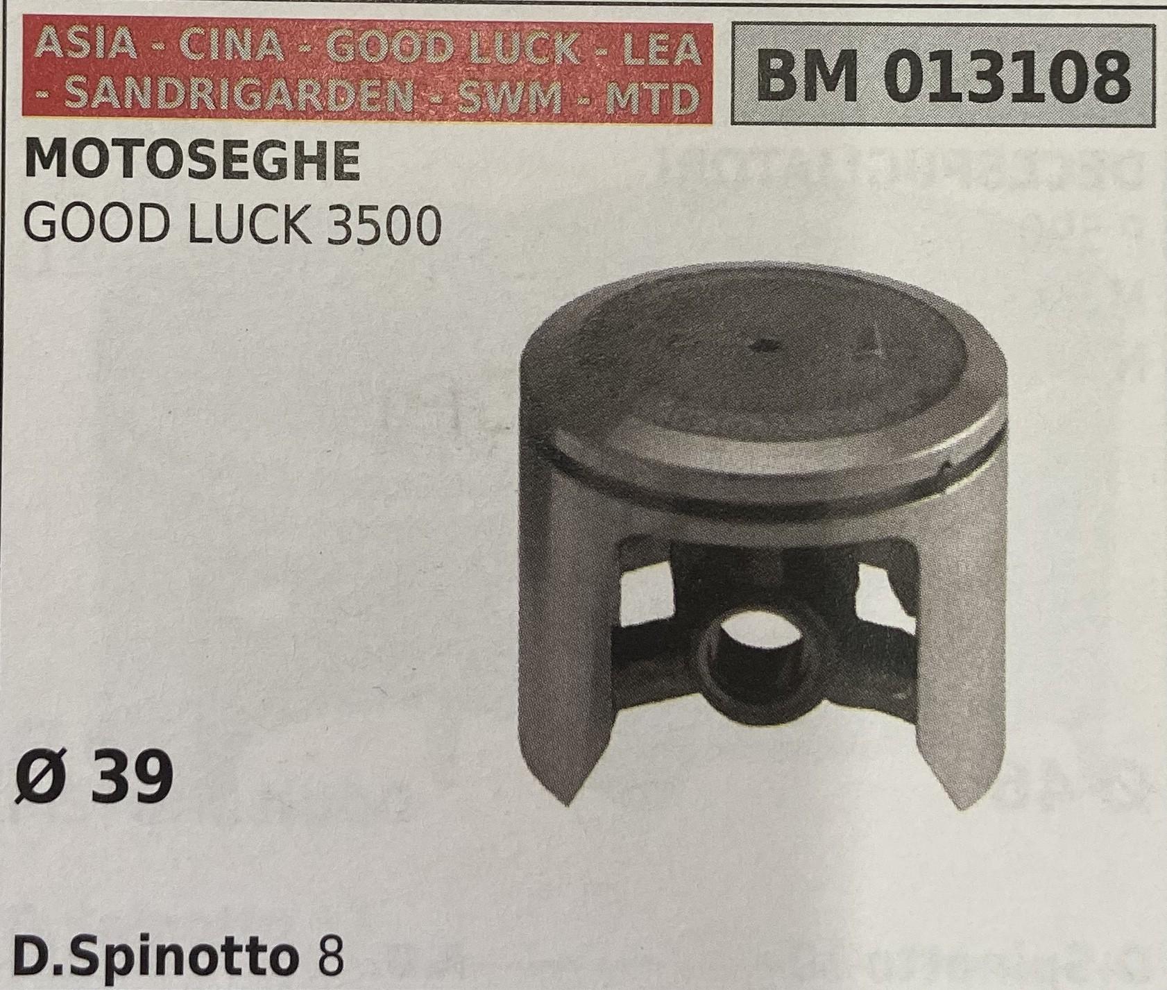 BRUMAR PISTONE COMPLETO ASIA - CINA - GOOD LUCK - LEA - SANDRIGARDEN - SWM - MTD MOTOSEGHE GOOD LUCK 3500  Ø 39 D.Spinotto 8  R.O. -