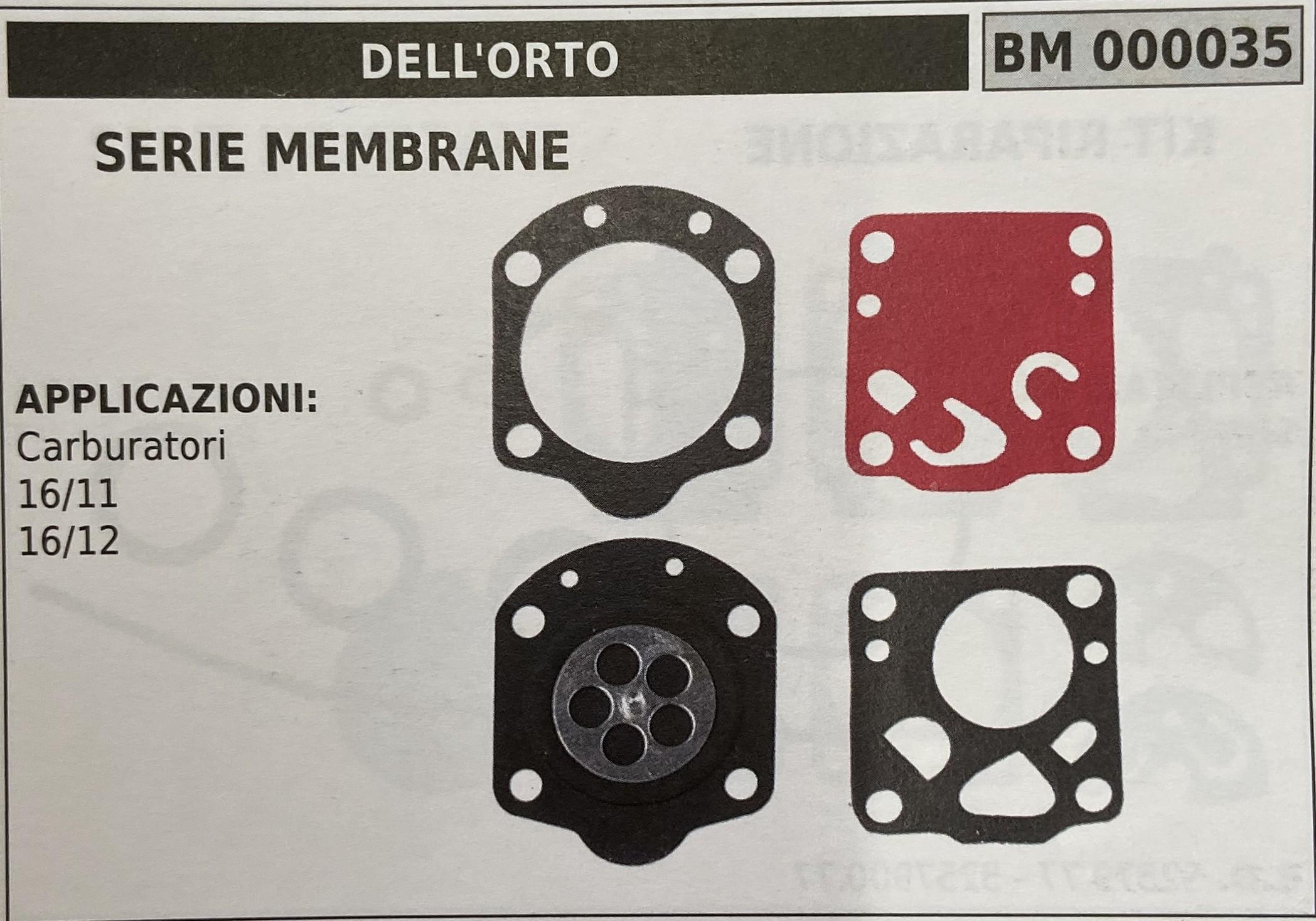 BRUMAR MEMBRANA/KIT RIPARAZIONE DELL'ORTO  SERIE MEMBRANE  APPLICAZIONI Carburatori 16/11 16/12   R.O. -