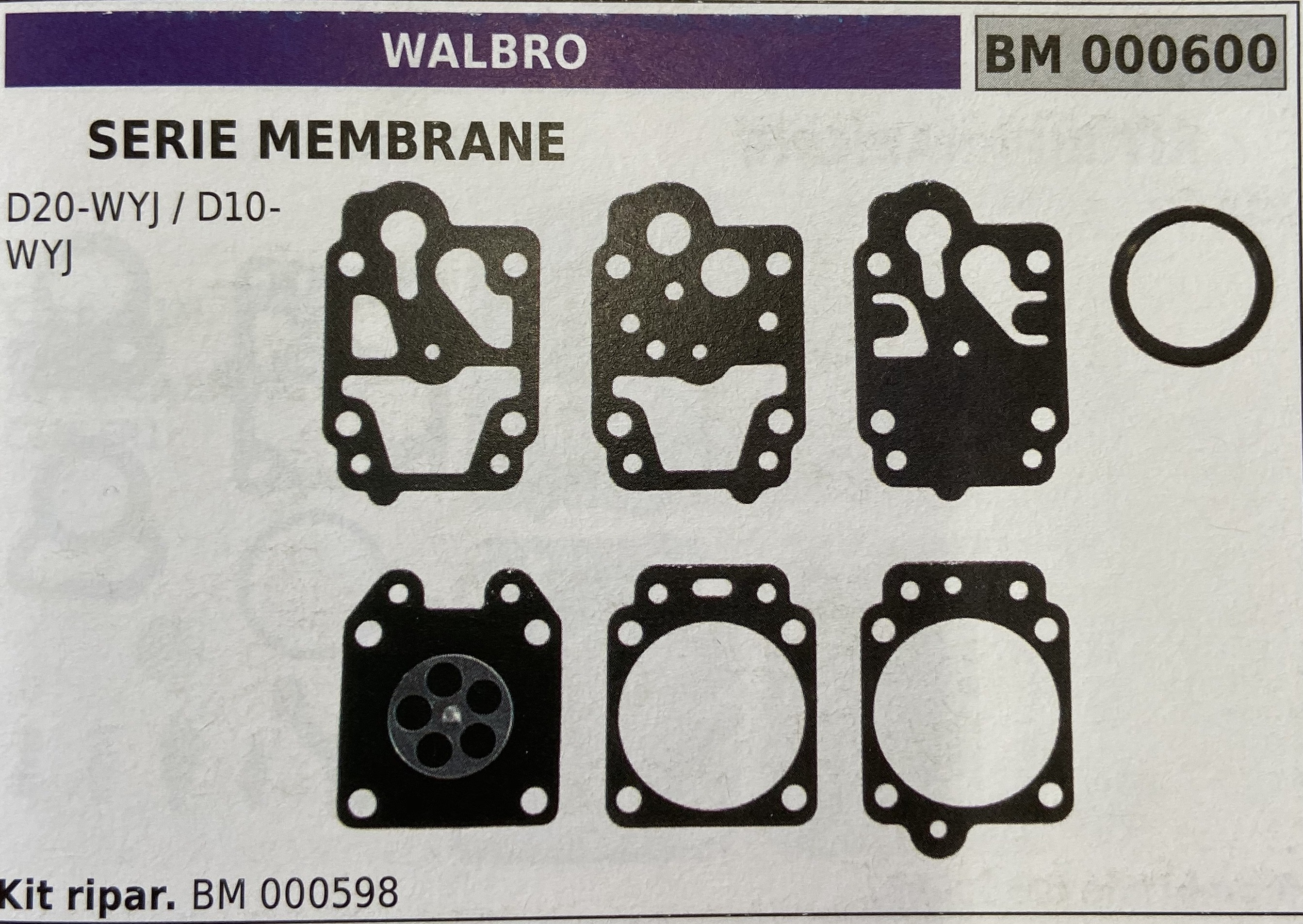 BRUMAR MEMBRANA/KIT RIPARAZIONE WALBRO  SERIE MEMBRANE D20-WYJ / D10-WYJ  Kit ripar. BM 000598