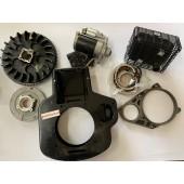 Kit avviamento elettrico COPLETO VOLANO per motori LOMBARDINI 6LD400 6LD360 520 530      PER MODELLI : 6LD360 - 6LD400 - 520 - 530         - convogliatore - piastra - motorino BOSCH - staffa - supporto albero motore - marmitta - alternatore - regolatore