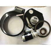 KIT AVVIAMENTO ELETTRICOMOTORE LOMABARDINI  LDA96 - LDA97 - LDA100 - LDA820 - 4LD640 - 4LD705 - 4LD820 - convogliatore - piastra - motorino - corona diam. interno 264 mm - alternatore -regolatore 7 poli - staffa motorino