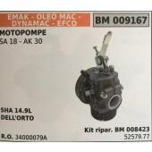 CARBURATORE A VASCHETTA BRUMAR EMAK - OLEO MAC - DYNAMAC - EFCO MOTOPOMPE SA 18 - AK 30    SHA 14.9L DELL'ORTO Kit ripar. BM 008423