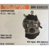 CARBURATORE A VASCHETTA BRUMAR EMAK - OLEO MAC - DYNAMAC - EFCO SOFFIATORI M 15 - AM 150    SHA 14.12L DELL'ORTO Kit ripar. BM 008423
