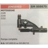 POMPA OLIO BRUMAR JONSERED MOTOSEGHE 2149 2150 2152   pompa completa
