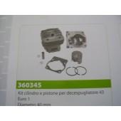 CILINDRO E PISTONE PER DECESPUGLIATORE 43 EURO1 TIPO CINESE  DIAMETRO 40MM