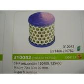 FILTRO ARIA MOTORE BRIGGS & STRATTON 5 HP ORIZONTALE 130400 - 135400 MISURE 70X30X70 MM