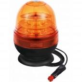 Lampeggiante girofaro LED 12-24V a base magnetica. 16 Led a 3W, IP66, tre molalità lumimose selezionabili : rotazione, flash singolo, flash veloce; temperatura d'esercizio -30°C a 60°C. Certificazioni: R10, CE, EMC, ECE R65