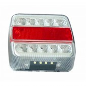 Fanale posteriore quadrato a Led 13,5 V 5 funzioni: luce di posizione, luce di direzione, luce targa, stop, catadiotro. Dimensioni: 104x97x37 mm