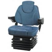 Sedile Activo in velluto blu con molleggio meccanico. Completo di braccioli e poggiatesta. Telaio portante in lamiera e cuscini ergonomici avvolgenti